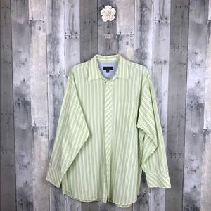 Ted Baker London Green Stripe Shirt 17-32/33 EUC